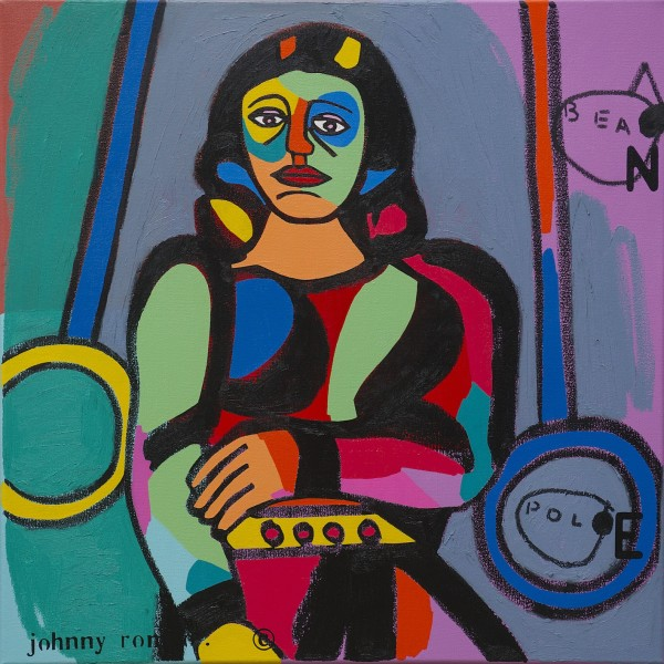 Johnny Romeo, Bean Pole, 2013, acrylic and oil on canvas 71cm x 71cm.