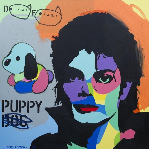 Johnny Romeo, Dizzy Fizzy, 2013, acrylic and oil on canvas 120cm x 120cm