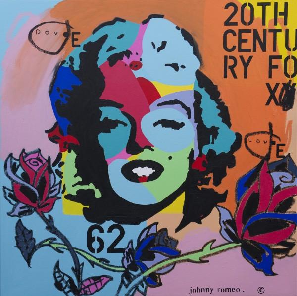 Johnny Romeo, Dove Love, 2013, acrylic and oil on canvas 101cm x 101cm