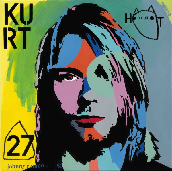 Johnny Romeo, Hurt Kurt, 2014, acrylic and oil on canvas 81cm x 81cm