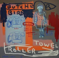 image johnny-romeo-butcher-bird-roller-towel-2008-acrylic-and-oil-on-canvas-76cm-x-76cm-jpg