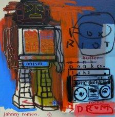 image johnny-romeo-fox-riot-drum-2009-acrylic-and-oil-on-canvas-61cm-x-61cm-jpg