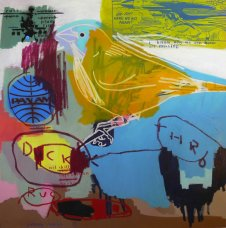 image johnny-romeo-duck-rug-throw-2009-acrylic-and-oil-on-canvas-137cm-x-137cm-jpg